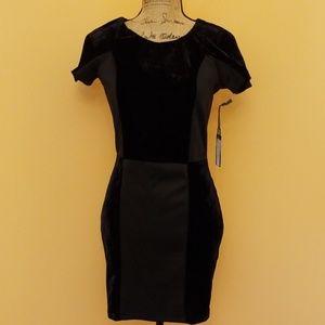 Luca Couture black velvet contrast panel dress I2